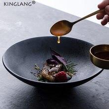 KINGLANG bol en céramique Style européen, bols à nouilles moudre, vaisselle de couleur foncée, assiette profonde, bol Ramen noir mat