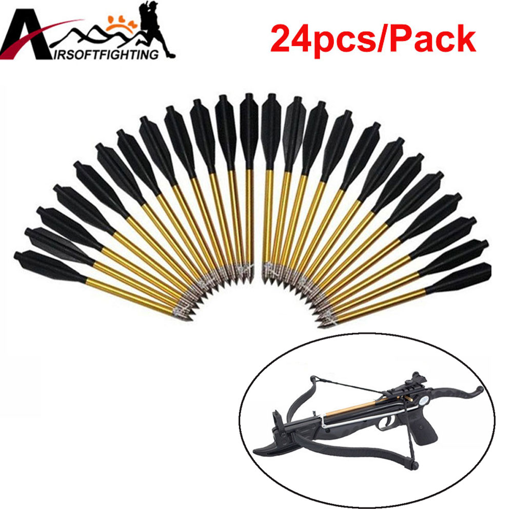 50 lb/80 lb 권총 Broadheads 양궁 화살촉 석궁 화살 머리에 대 한 24pcs 황금 알루미늄 볼트 화살표 사냥 촬영
