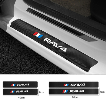 For Toyota RAV4 Hybrid Sport 2013 2006 2018 2011 2020 2019 4PCS Carbon Fiber Car Door Sill Guard Leather Stickers Vinyl Decal image