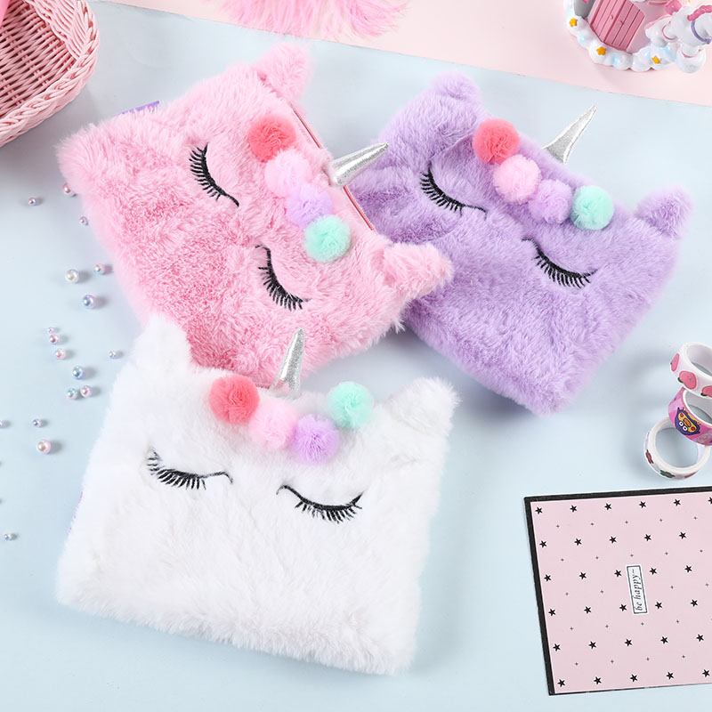 Cute Plush Unicorn Cosmetic Bag Soft Embroidered Unicorn Fur Ball Makeup Case For Women Portable Storage Case Student Pencil Bag