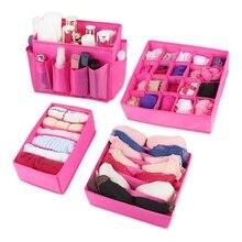 Foldable Non-woven Storage Boxes washable Lidded Closet Organizer 4pcs / set For Ties Socks Shorts Bra Underwear Divider Drawer