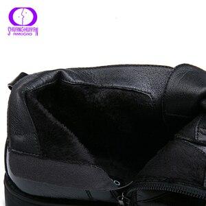 Image 5 - AIMEIGAO printemps automne noir fermeture éclair imperméable bottines femmes hiver en cuir verni chaussure femmes chaud en peluche à lintérieur dames bottes