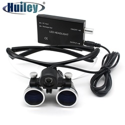 2.5X/3.5X Magnification Binocular Dental Loupe Surgery Surgical Magnifier with Headlight LED Light Operation Loupe Lamp