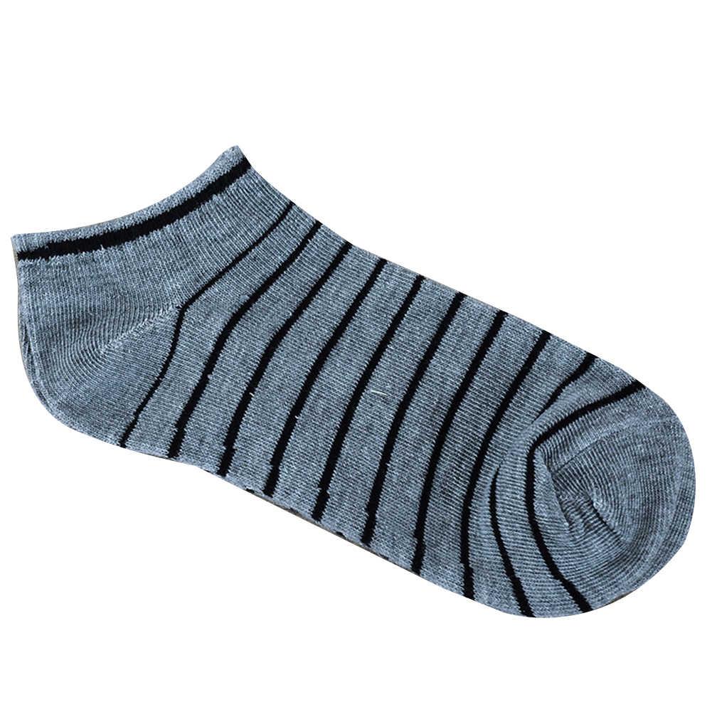 1Pairs Mannen Comfortabele Eenvoudige Streep Katoenen Sokjes Elastische Korte Low Cut Ademend Boot Sok Casual Calcetines Homme