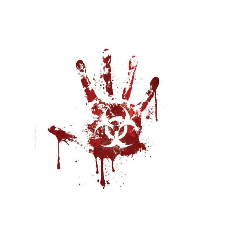 Aliauto Kreative Auto Aufkleber Blutige Handabdruck Biohazard Zombie Lustige Zubehör PVC Aufkleber für Mini Cooper Kia Rio, 15cm * 12cm