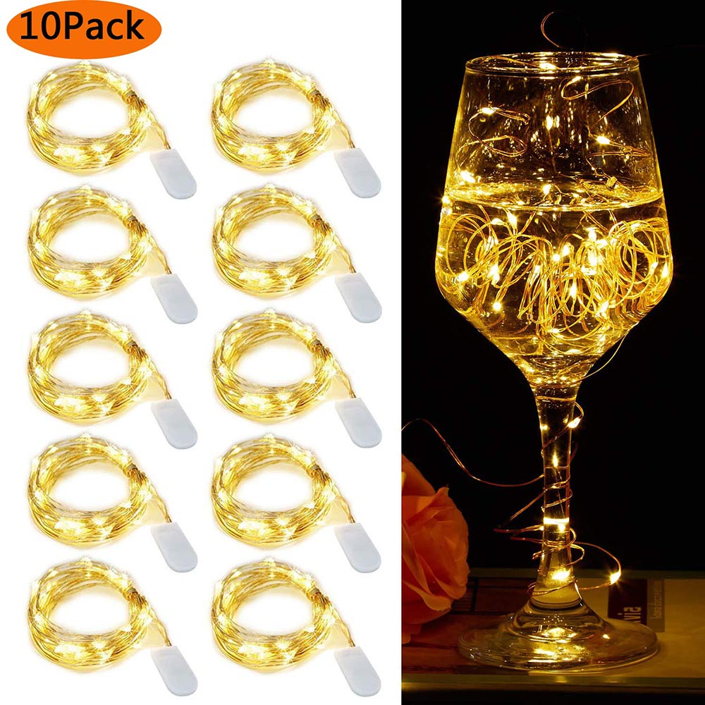 10Pcs/lot LED String Light Waterproof Copper Wire Fairy Light Battery Powered Wedding Xmas Christmas Holiday Party Decor Lamp