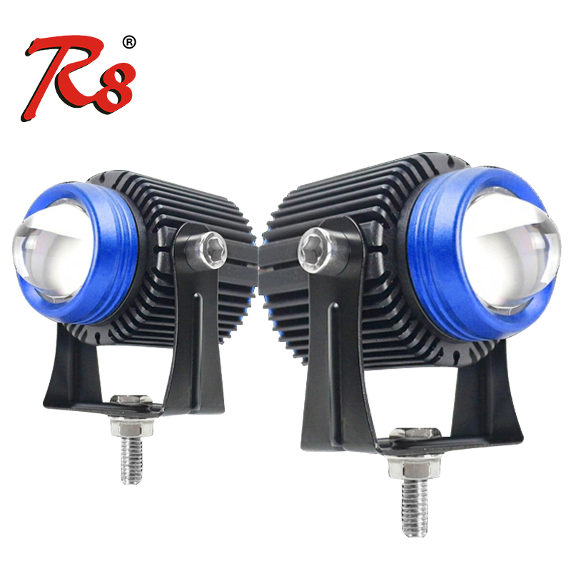 Universal Car Motorcycle LED Projector Lens Work Spotlights White Yellow Dual Colors High Low Beam High Power Mini Size External