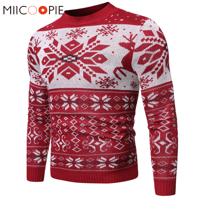 Winter Christmas Sweater Pullover Men Fashion Contrast Color Snowflake Pattern O-Neck Sueter Hombre Male Knitted Sweaters Jacket
