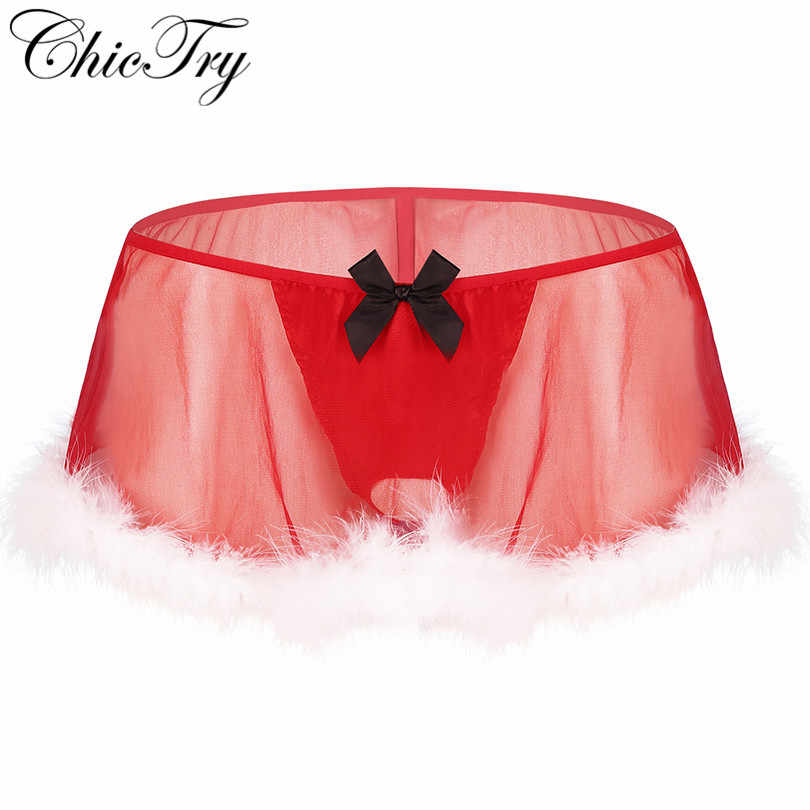 Fashion Man Mens Sissy Kerst Kostuum See Through Sheer Lingerie Elastische Laagbouw Wit Feather Hem G-string Panty Rok