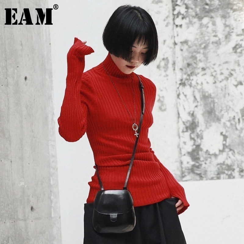 [EAM] Red Brief High Elastic Knitting Sweater Loose Fit Turtleneck Long Sleeve Women Pullovers New Fashion Spring 2020 JI103