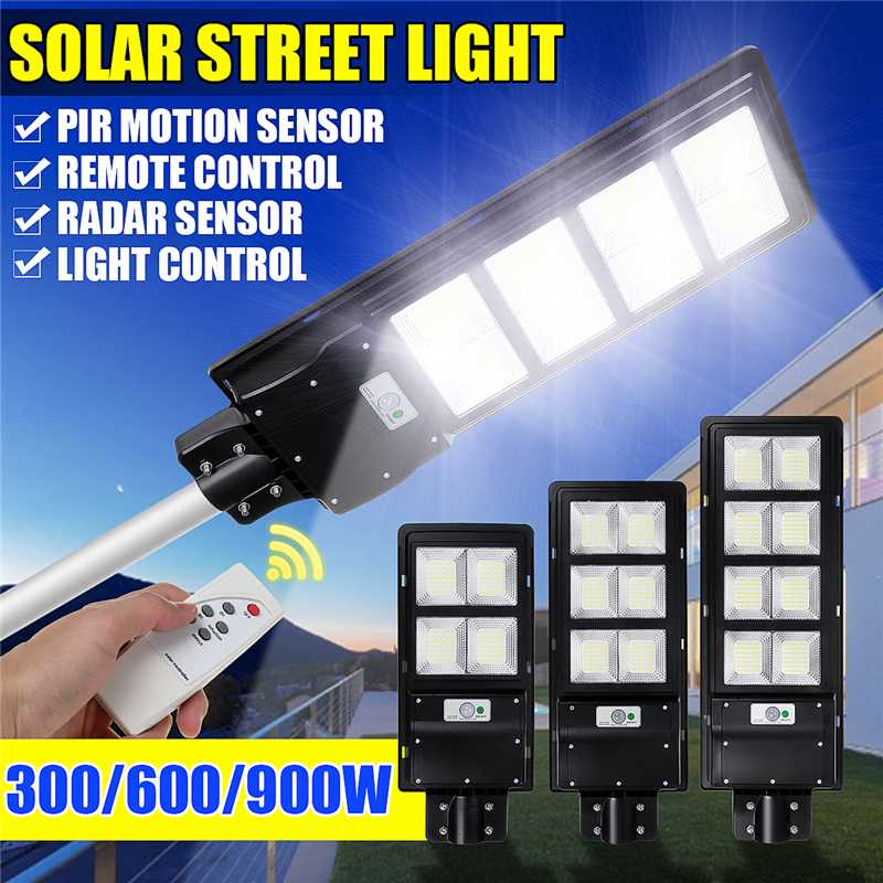 300W 600W 900W IP65 LED Solar Street Light Radar Motion Wall Lamp No/ With Remote Control For Villas Garden Yard And Pathway