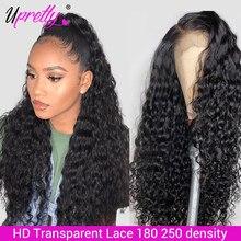 Perruque brésilienne de cheveux naturels-Upretty, perruque Lace Front Wig transparente HD, humide et ondulée, 13x6, 28 30 pouces