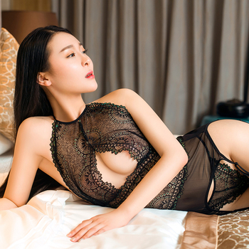 See Through Erotic Lingerie Set Hollow Out Sexy Christmas Clothes Nightwear Erspective Womens Lace Temptation Porn Underwear Set 1