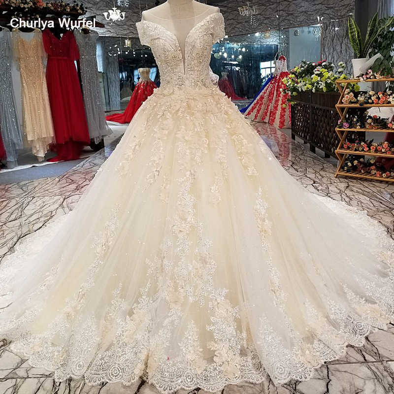 Ls64771 Elegant Shiny Wedding Gown 2018 With Flowers O Neck Short