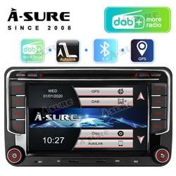 A-Sure 2 Din Автомобильный мультимедийный плеер Радио DVD GPS навигация DAB BT RDS для VW Volkswagen Golf 5 6 Polo Passat B6 B7 TOURAN Skoda