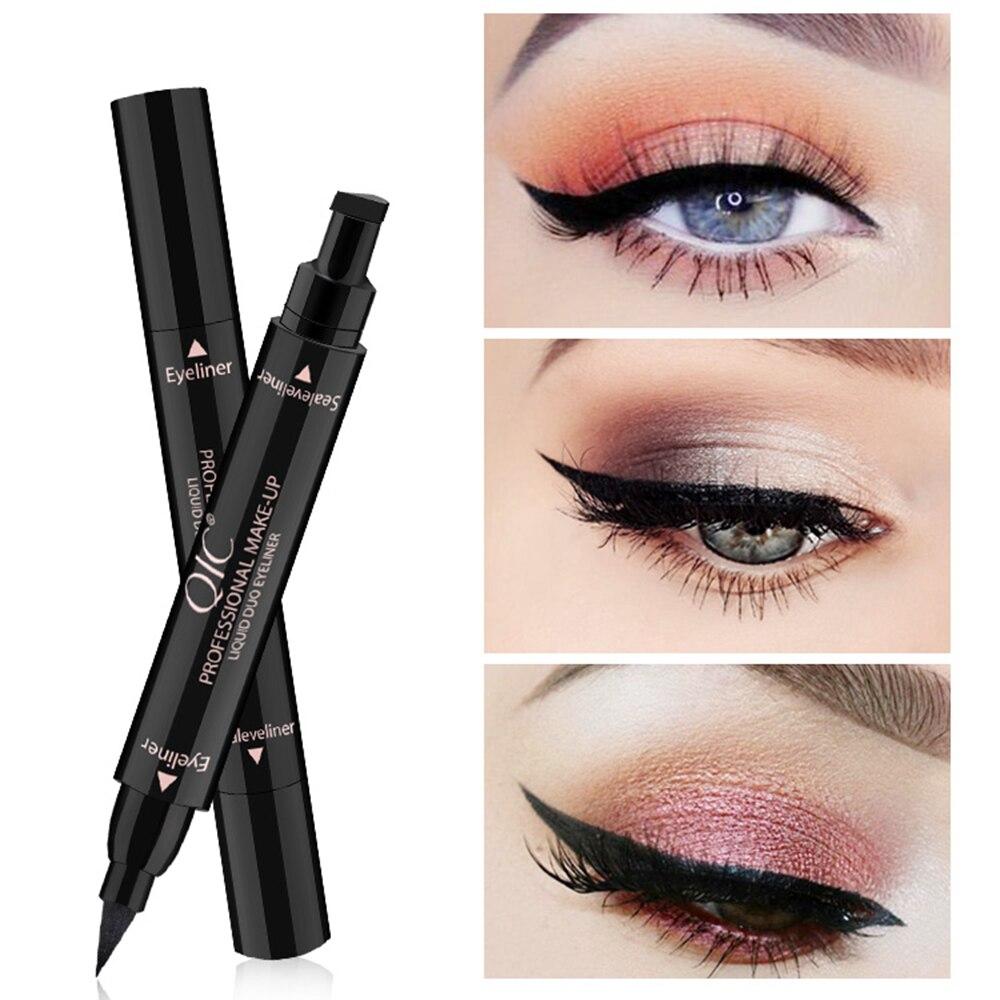Double-Headed Seal Black Eyeliner Triangle Seal Eyeliner 2-in-1 Waterproof Eyes Make Up Kit Stamps Wing Eyeliner Pencil TSLM2
