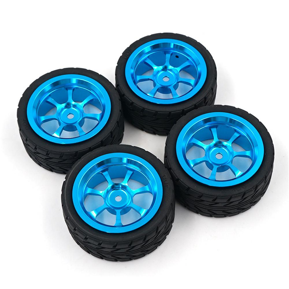 4PCS Rim and Tires with 7mm To 12mm Adapter for <font><b>1</b></font>/<font><b>18</b></font> WLtoys A959-B A949 A959 A969 A979 K929 <font><b>RC</b></font> Car Parts Aluminium Alloy <font><b>Wheels</b></font> image