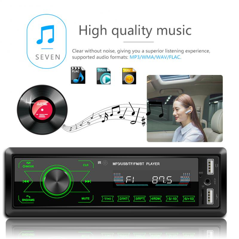 Car-Audio-Player Autoradio MMC MP3 Input-Receiver Stereo SD Bluetooth-4.0 1-Din FM Aux title=