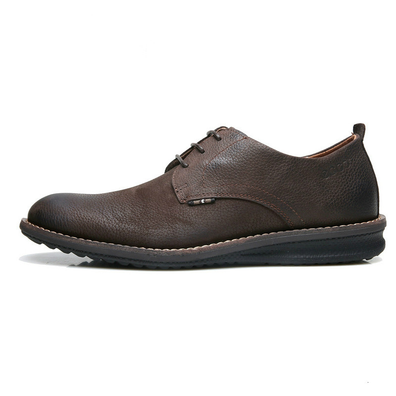 Ecco Men Leather Shoes Black Brown Genuine Cow Leather For Four Season Sneakers Men's Casual Shoes