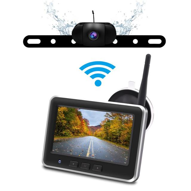 Accfly Wireless Car Dvr Rear View Camera Backup Parking Plate Cam with 4.3 Inch TFT Lcd Monitor for SUV