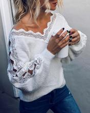 Women T-shirt Spring Autumn Sexy V Neck Hollow Knit Long Sleeve Pullover Elegant Women White Jumper Pull Femme T-shirt