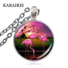 Karairis Фламинго животные лояльность и любовь круглый кулон