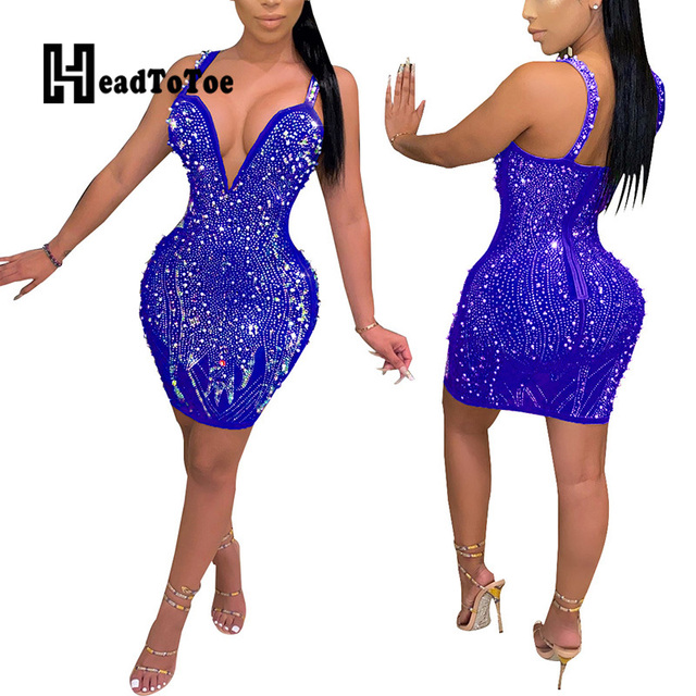 Sexy Backless V Neck Thick Strap Rhinestone Beading Party Dress Women Sleeveless Sheath Bodycon Club Dresses 6