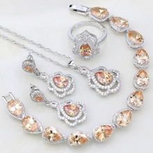 Şampanya zirkon 925 ayar gümüş takı setleri kadınlar için düğün aksesuarları bırak küpe/kolye/kolye/yüzük/bilezik
