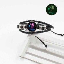 Hot 12 Zodiac Luminous Bracelet Handmade Woven Leather Retro Constellation Couple Gems