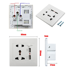 Universal Socket Dual USB Port Socket Wall Charger Adapter Charging 2.1A Wall Charger Adapter Power Outlet White Fast Shipping