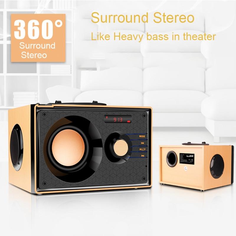 Nouveau Portable en bois Bluetooth haut-parleur sans fil bureau Subwoofer 3 unités de son HIFI basse lourde stéréo FM TF barre de son haut-parleur