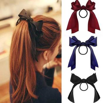 IFMIA Korean Bow-Knot Elastic Hair Bands Accessories Fashion Band Long Ribbon Bow Ponytail Tie Scrunchies Women Girls - discount item  46% OFF Headwear