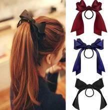 Korean Bow-Knot Elastic Hair Bands Accessories Fashion Hair Band Long Ribbon Bow Ponytail Hair Tie Scrunchies Women Girls