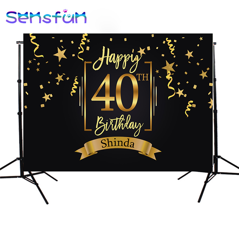 Sxy1270 Happpy <font><b>40th</b></font> <font><b>Birthday</b></font> <font><b>Backdrop</b></font> Gold Little Stars Ribbons Photo Background Champagne Celebration <font><b>Birthday</b></font> Party Banner image