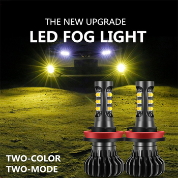 2X Canbus H11 LED Car Dual Color Front Fog Light Bulb For BMW E46 E39 E36 F30 F10 E30 E34 X5 E53 F20 X3 E87 E70 E92 X1 M3 X6 E38 image