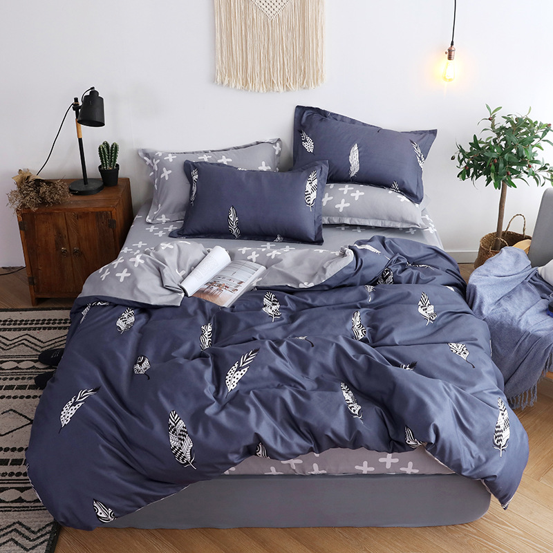 Pastory Style Home Textile Bed Duvet Cover Set Soft Comfortable Bedclothes Pillowcase Sheet Adults Floral Blue Bedding Set