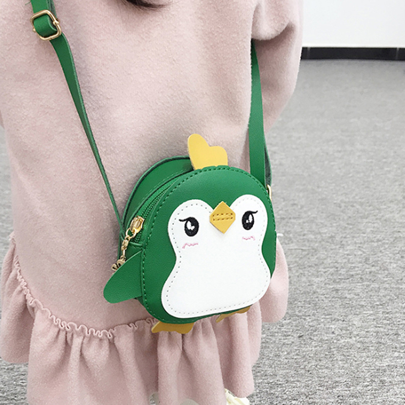 Animal Penguin Shape Shoulder Bag Kids Girls Crossbody Bag Cute Clutch Leather Mini Handbag Women Bags Small Messenger Bag