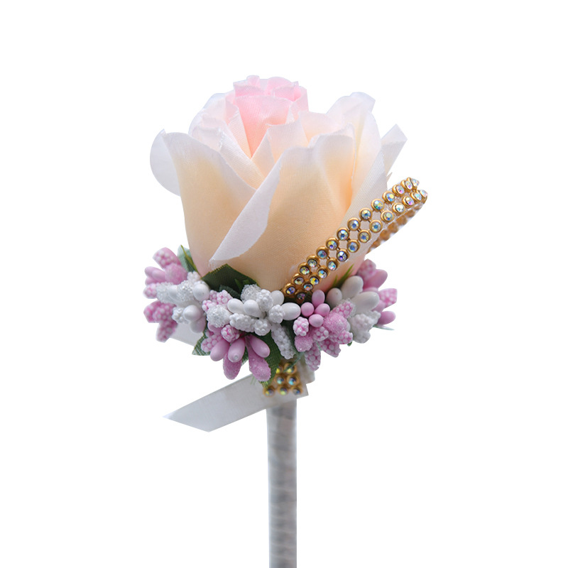 Boutonniere Flowers Wedding Corsage Pins White Rose Ribbon Boutonniere For The Groom Man Wedding Witness Marriage Accessories