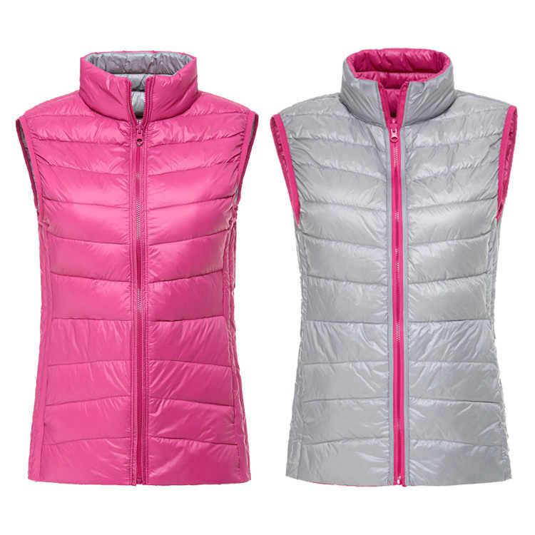 2020 Nieuwe Puffer Vest Vrouwen Licht Donsjack Vrouwen Vest Mouwloze Jas Vesten Van Vrouwen Bovenkleding Double Side Wear