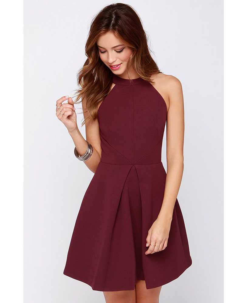 Robe De Soiree Arrival Halter Fashion Burgundy Homecoming Gown 2018 A-line Elegant Party Short Prom Gown Bridesmaid Dresses