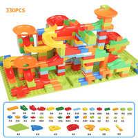 330 sztuk marmuru kierunku Race Run labirynt piłka utwór bloki Abs lejek montażu cegieł Mini rozmiar bloki zabawki dla dzieci
