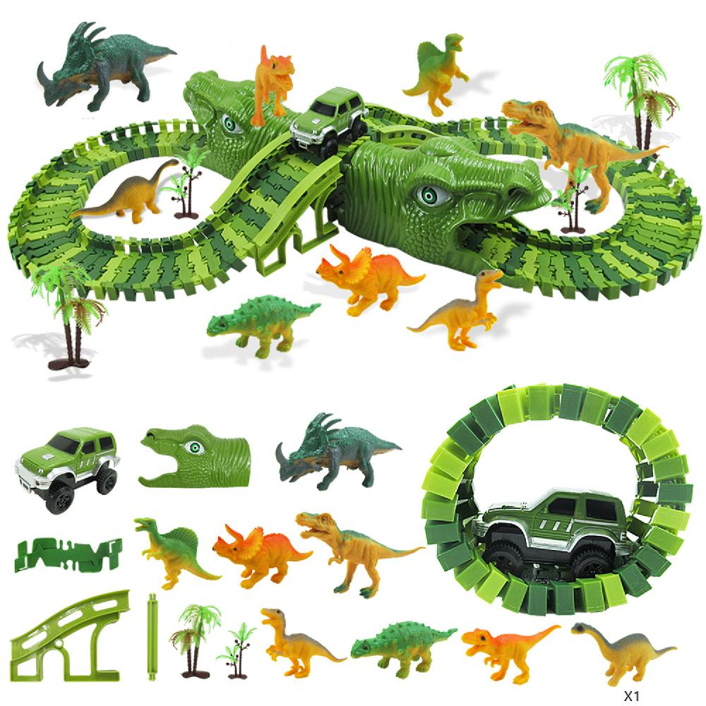 153pcs Diy Assemble Jurassic Dinosaur Race Track Set Racing Track Train Electric Race Car Dinosaur Model Building Block Track