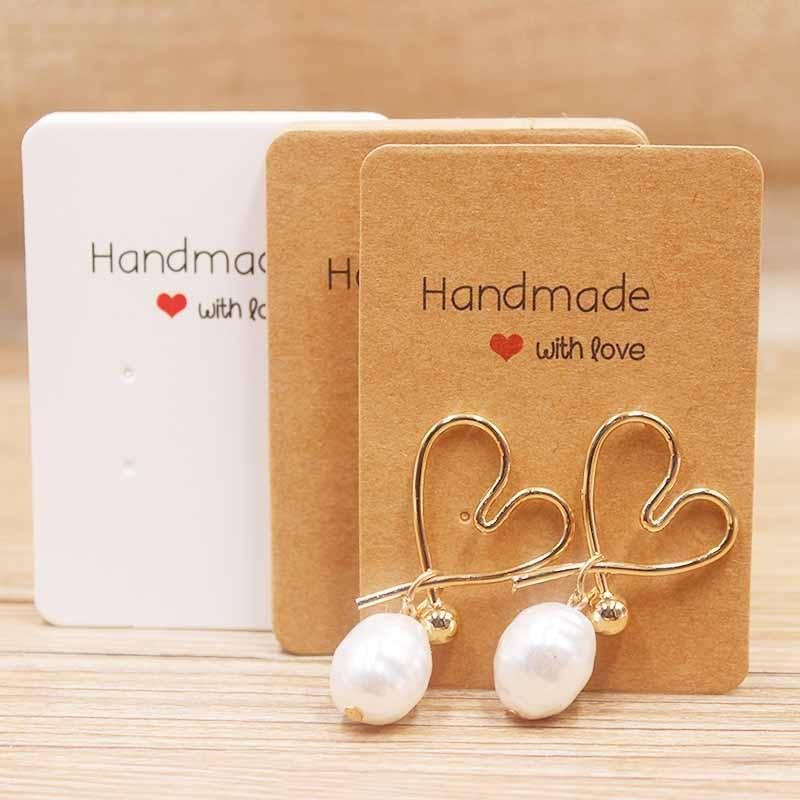 100Pcs  Hot Sale Handmade Kraft Paper Blank Earring Card Display Hanging Cards Package For Ear Studs Earrings Jewelry Package
