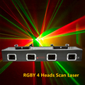 4 линзы 4 Луч RGBY лазерный сценический светильник 4 головки Красный Зеленый Синий Желтый сканирующий лазерный свет DJ Дискотека вечерние шоу л...