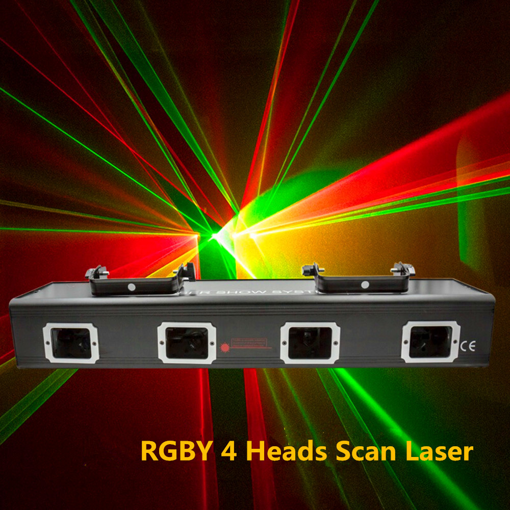 4 Lens 4 Beam RGBY Laser Light DMX 4 Heads Red Green Blue Yellow Scan Laser Light DJ Disco Party Show Line Patterns Stage Lights