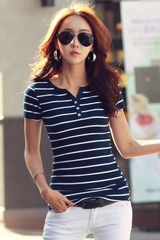 2019 Summer Top Shirts V-neck T Shirt Women Short Sleeve Casual tshirts White Strip T-Shirt Plus Size Cotton Tee Shirt  3188 50