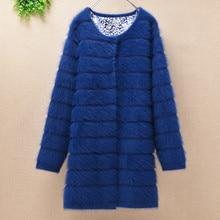 Casaco de pele de coelho de angora de malha de manga longa camisola de vison casaco de caxemira de inverno