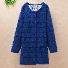 Top mujer kobiety grube ciepłe średnie długie paski angora rabbit fur sweter dziergany długie rękawy sweter norek z kaszmiru płaszcz zimowy