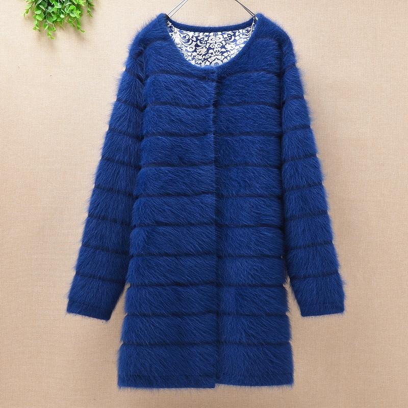Top mujer women thick warm medium long stripes angora rabbit fur  knitted cardigan long sleeves sweater mink cashmere coat  winterCardigans