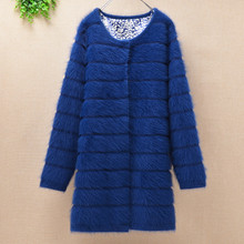 Top mujer women thick warm medium long stripes angora rabbit fur knitted cardigan long sleeves sweater mink cashmere coat winter